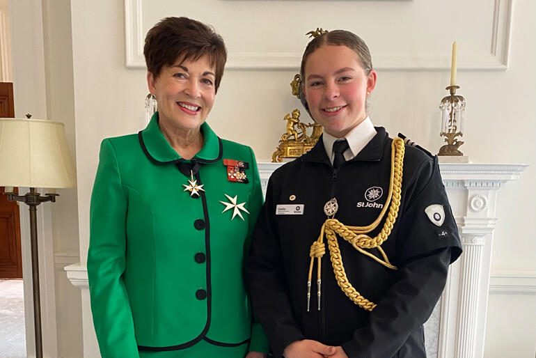 Grand Prior of St John Dame Patsy Reddy and Caitlin Hedge at the award ceremony.