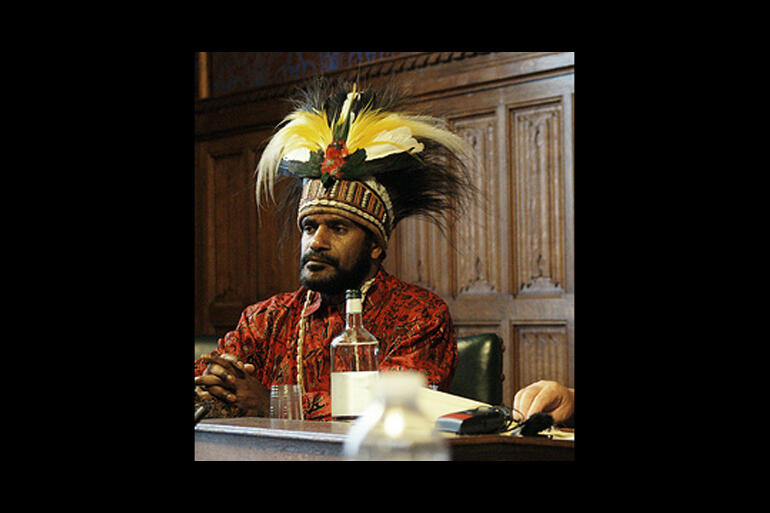 West Papuan independence leader Benny Wenda speaks to the UK parliament in 2008.