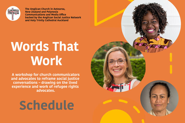 Words That Work Schedule for 4 March 2020 workshop at Holy Trinity Cathedral Auckland.