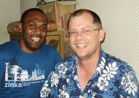 Andrew Duxfield (seen here with The Rev Luke Ravudolo) during one of his Fiji mission trips. All shots from Andrew's Facebook page.