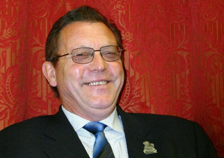 Don Baskerville, chair of the Anglican Insurance Board - a file photo taken in happier times.