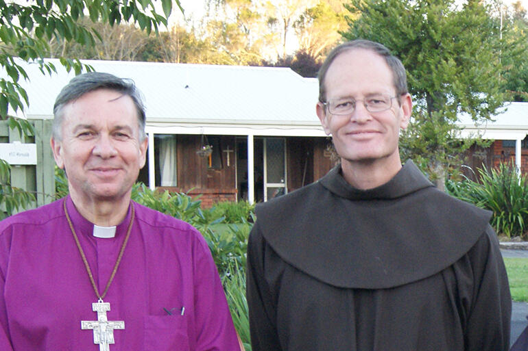 Archbishop David Moxon and Br Clark Berge SSF (the Minister General of the First Order Brothers) outside The Friary of The Divine Compassion in 2012.