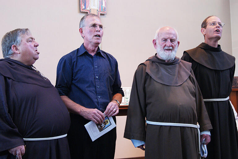 Br Damian Kenneth (left) Rev Phil Dyer (Third Order SSF), the late Br Brian Harley and Br Clark Berge at the Tea Ara Hou chapel in 2012.