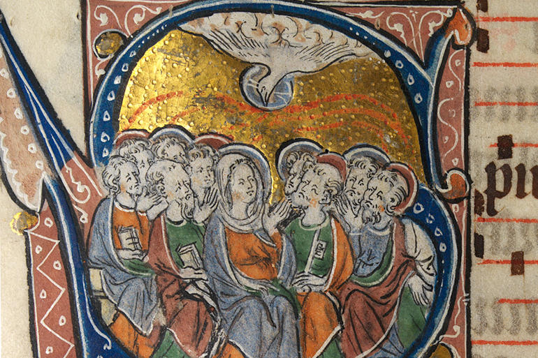 Pentecost appears in a mediaeval book of hours from the National Library of Wales. Wikipedia Commons image 44768060.