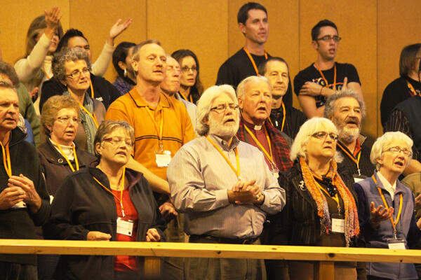 A view of the gallery during evening worship at the Common Life Mission Conference.