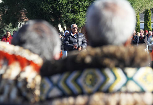 Archbishop Winston Halapua responds to the tangata whenua welcome.