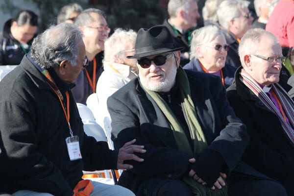 Sonny Melbourne (left) and Dr John Tamahori chat during the break between the two powhiri at the Common Life Mission Conference.