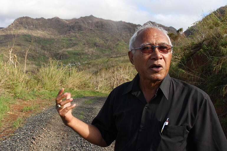 Archbishop Winston Halapua on the road into Maniava. The Diocese of Polynesia is helping Solomoni communities gain tenure to the land they live on.