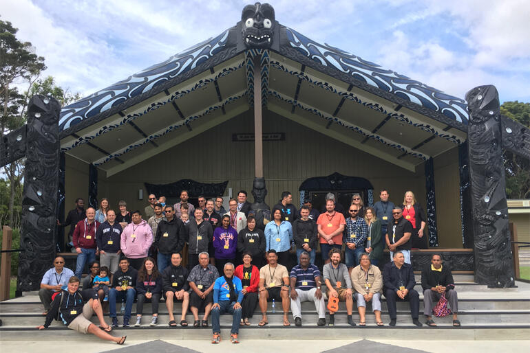 St John's College hikoi group line up outside the new whare at Ohakea Air Base in February 2017.