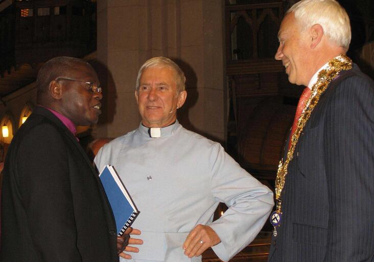 Archbishop John Sentamu, Dean Peter Beck and Christchurch Mayor Bob Parker.