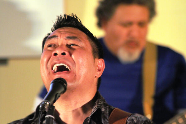 Paul Fong, leader of Youth Quest, the band which led the final evening's worship.