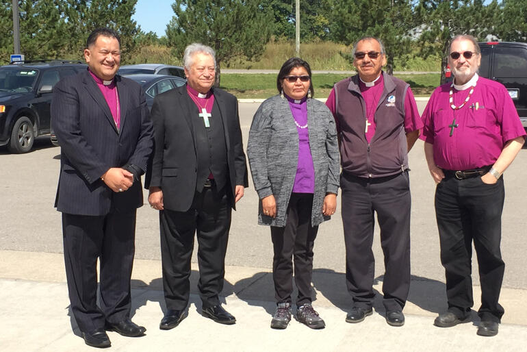 Bishop Kito PIkaahu and Bishop Richard Wallace join fellow bishops taking part in an Anglican Indigenous Network meeting.
