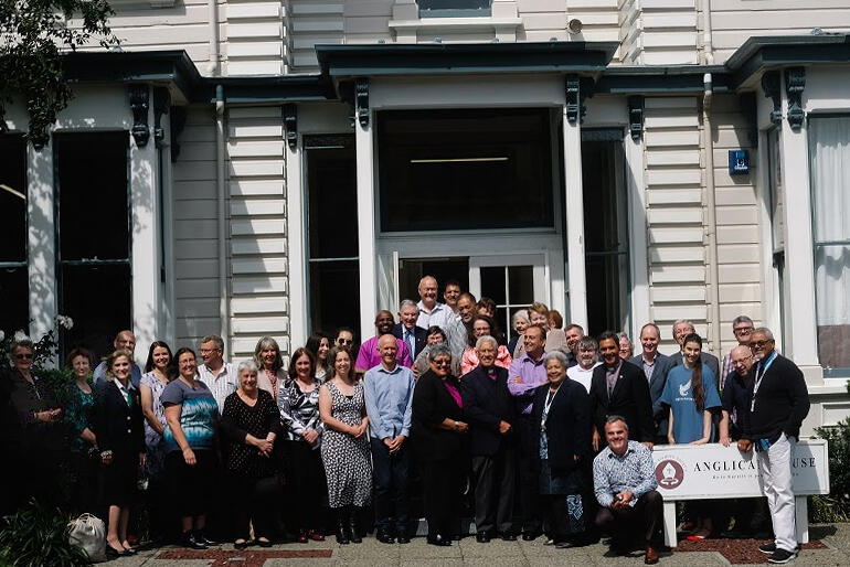 Anglican Missions supporters spill out of mission headquarters at Octavius Hadfield House during a day of centenary celebrations in Wellington.