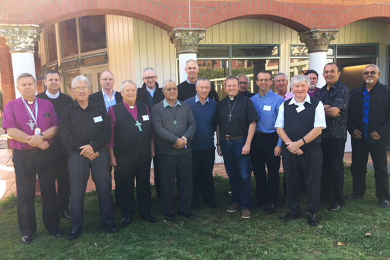The Anglican and Catholic bishops gathered at the Home of Compassion, Island Bay. Amanda Gregan photo.