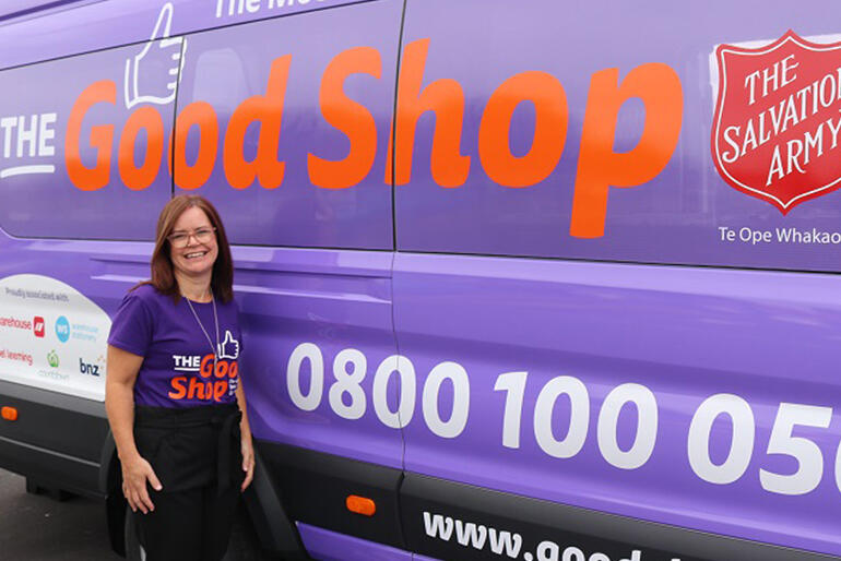 Good Shop vans are great, but can't protect everyone from loan sharks. Good Shop manager Kate Hoare with one of the Good Shop vans.