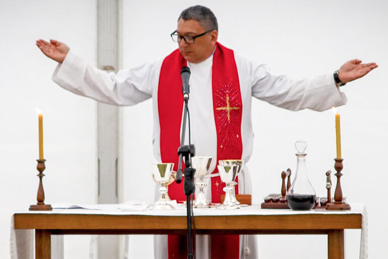 Rev Katene Eruera celebrates the Eucharist at the 2021 opening of Te Whare Wānanga o Hoani Tapu -St John's College.