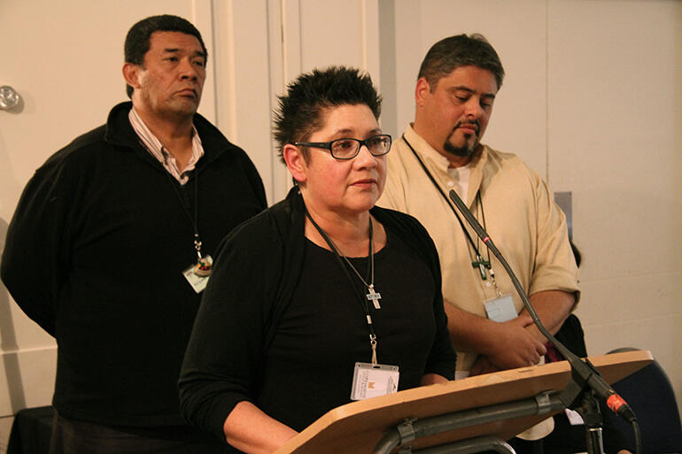 Moka Ritchie at the podium, Fe'i Tevi and Don Tamihere were members of the working group that developed the resolution.