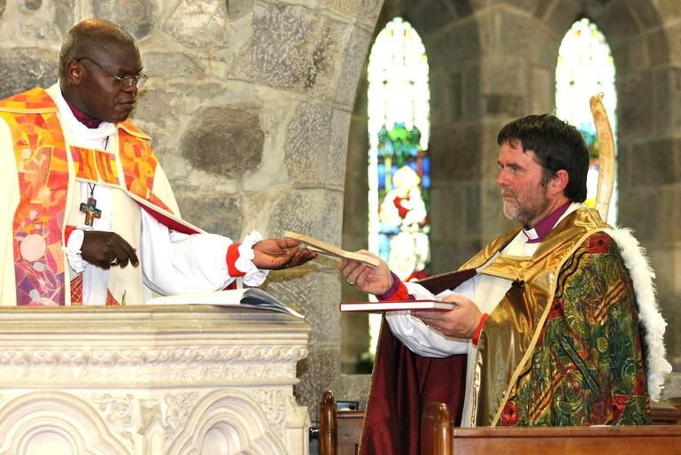 Bishop Richardson with the Archbishop of York during last year's consecration of St Mary's New Plymouth as a full-fledged cathedral.