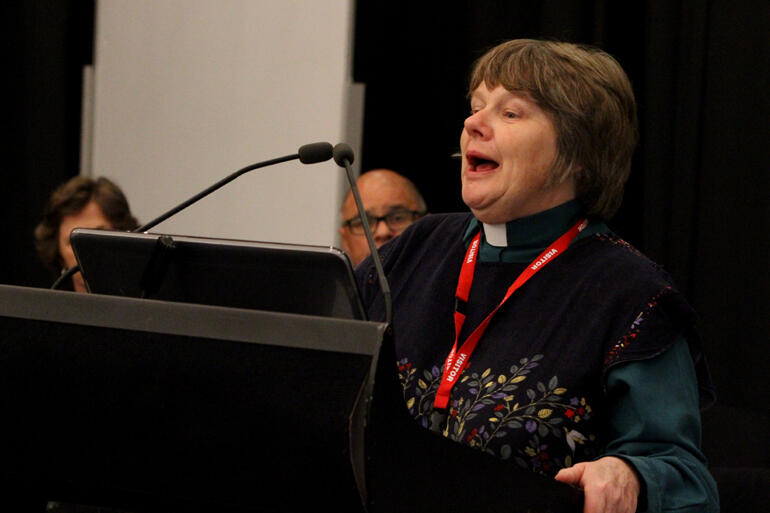 Rev Vicki Terrell encourages delegates to see people with disabilities as part of the body of Christ.