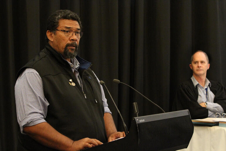 Fei Tevi moves the motion which recognises Polynesian Anglicans will not bless same sex relationships.