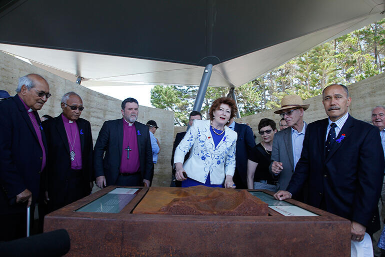 The archbishops, at left, with Maggie Barry, John King and the Governor General in Rore Kahu.