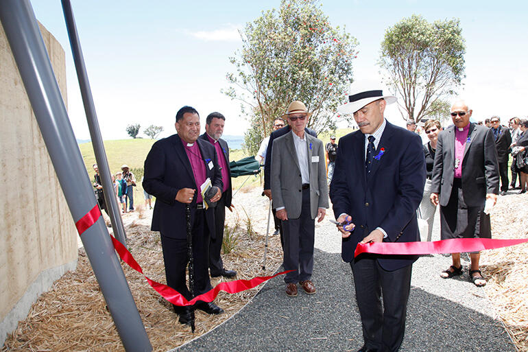 The Governor General, Sir Jerry Mateparae, cuts the ribbon to declare Rangihoua Heritage Park open. All pix by Luci Harrison.