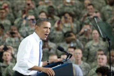 President Obama thanks the military for taking out Osama bin Laden.