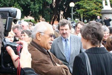 Charles Waldegrave, centre, with ex PM Helen Clark and Hone Kaa at the time of the Section 59 repeal protests in 2007.