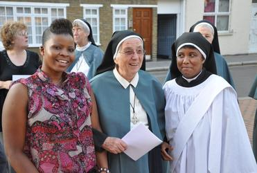 Sr Veronica CSC, at right, alongside Sr Lydia, CSC, and Jo, an 'Alongsider', who also lives at St Michael's Convent, Ham.