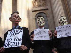 Protestors outside St Paul's Cathedral in London. Photo: Getty Images