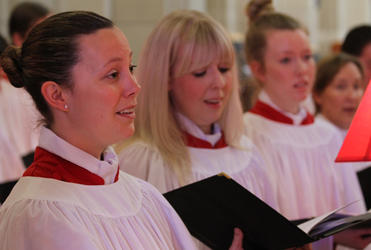 Cathedral choir members at the ACC's opening Eucharist: (from left) Rebecca Guest, Sarah Harris and Emily Harris.