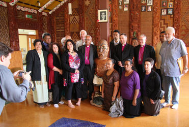The delegates to the IAFN consultation on family violence were welcomed to Wellington at a powhiri at Wainuiomata Marae.