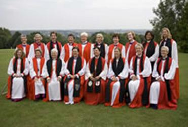 Women bishops line up at the 2008 Lambeth Conference.