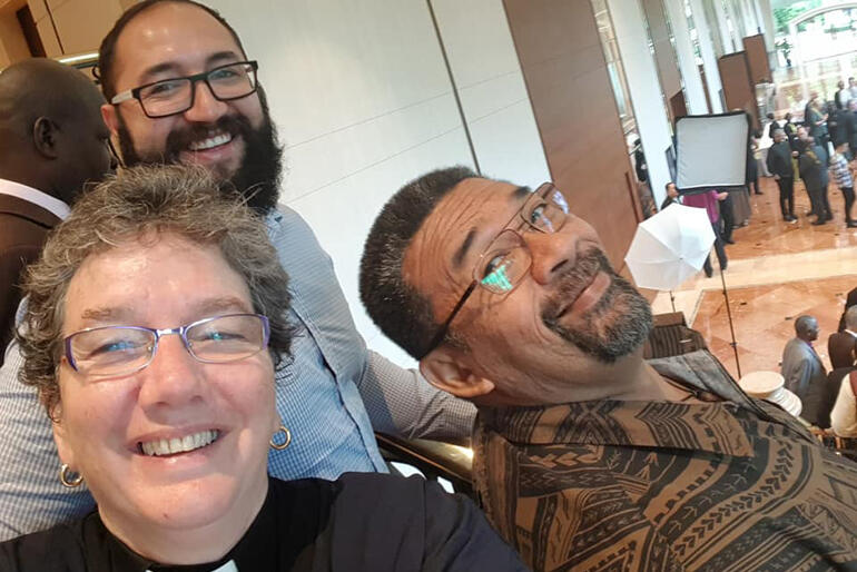 Our three-Tikanga delegates pause for a team selfie during ACC17- Clockwise from top: Ihaka Beach, Fe'i Tevi and Ven. Wendy Scott.