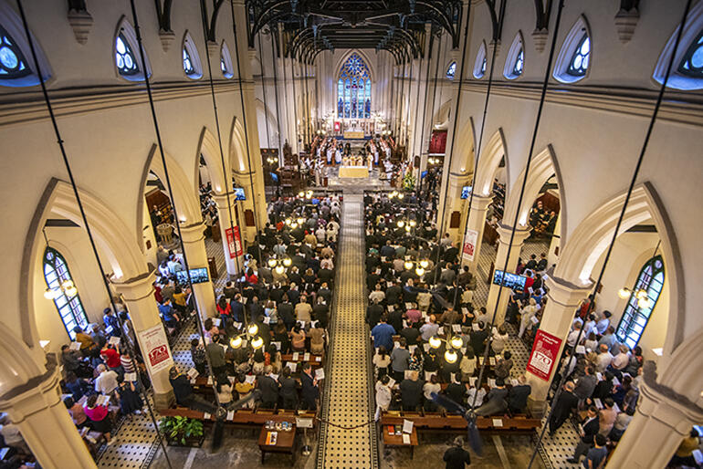 Anglican Consultative Council delegates, Hong Kong Anglicans and guests fill St John's Cathedral Hong Kong, 28 April 2019.