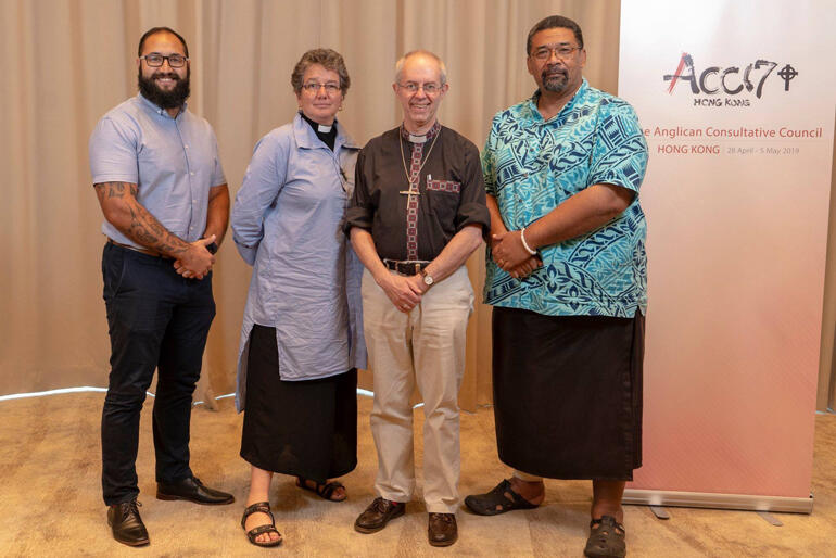 ANZP Anglican Consultative Council delegates with +Cantab (L-R): Isaac Beech, Ven Wendy Scott, Archbishop Justin Welby and Fe'iloakitau Kaho Tevi.