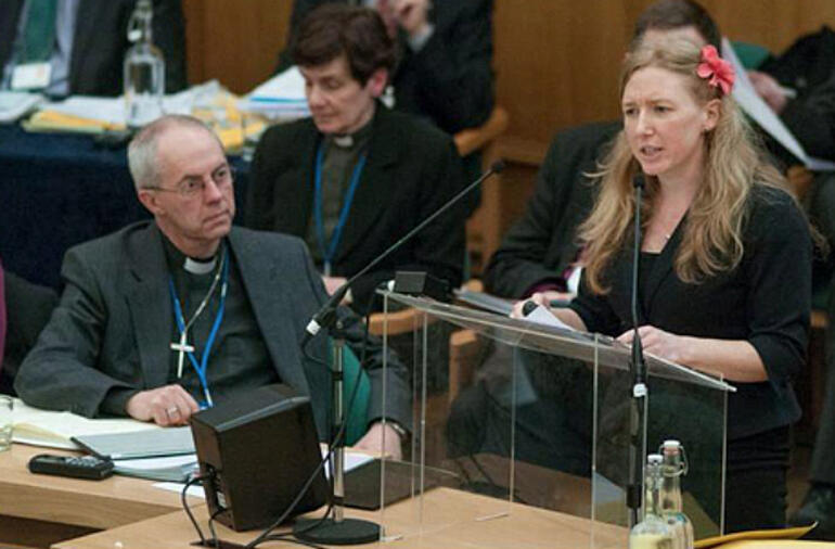 Project Director for Gender Justice Mandy Marshall speaks as Archbishop Justin Welby looks on.