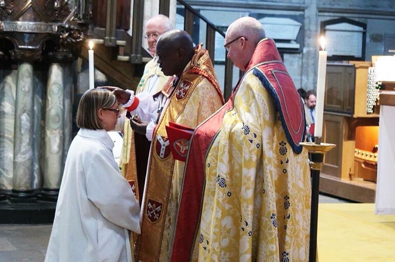 The Archbishop of York, Dr John Sentamu, anoints the new Bishop of Ripon, the Rt  Rev Helen-Ann Hartley. (Yorkshire Post photo.)