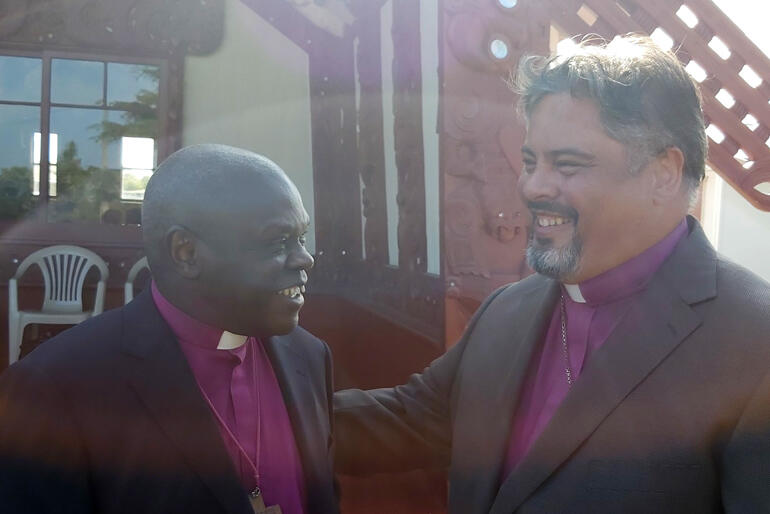 Archbishop John and Archbishop Don share a light moment during the Sentamu's visit to Gisborne hosted by the Pihopatanga o Aotearoa.