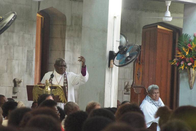 Archbishop John preaches to a packed Holy Trinity Cathedral Suva.
