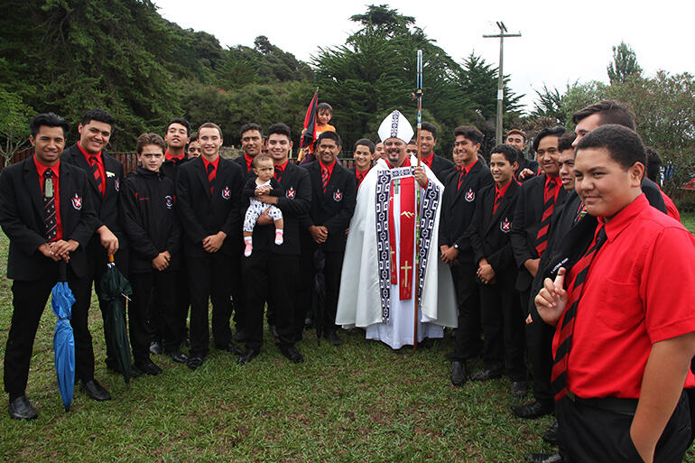 Bishop Don with the Te Aute boys.
