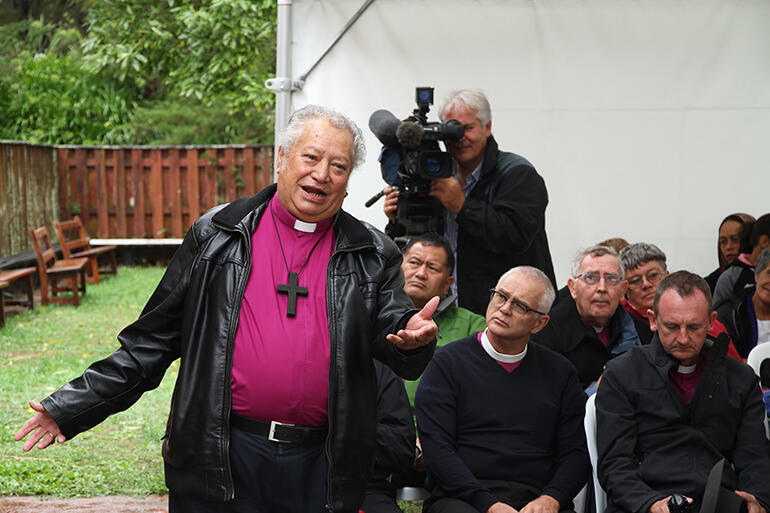 Bishop Richard Wallace, seen here during the powhiri, brought Te Wai Pounamu's greetings.