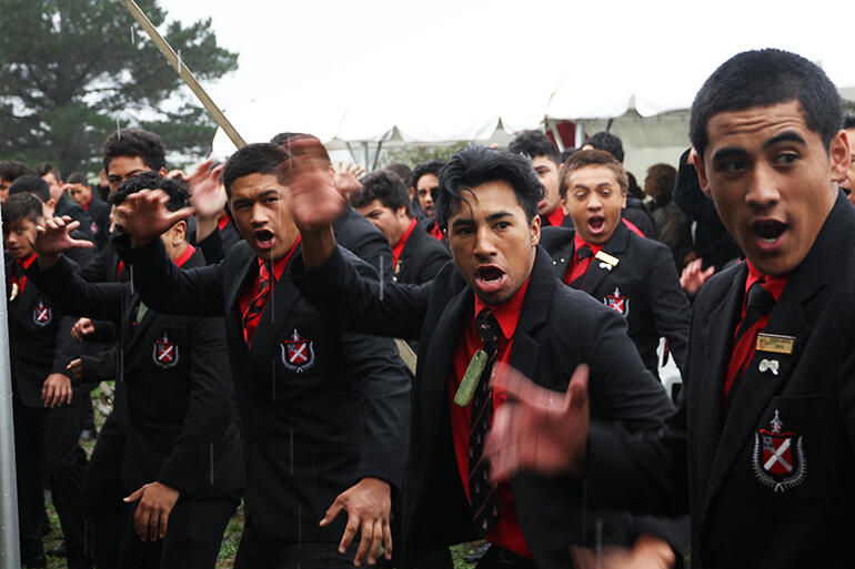 The boys from Te Aute College laid down a full throttle haka at the start of proceedings.