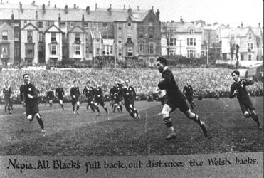 Thanks to George Nepia, the All Blacks won this 1924 encounter with Wales, 19-0.