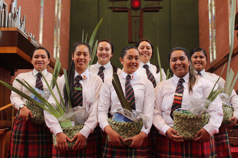Hukarere chool-leavers for 2014 in line up in the Waiapu Cathedral.
