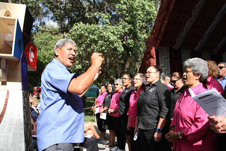 John Tapene leads the combined Hatea and Auckland Anglican Maori Club choir.