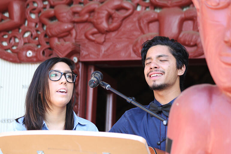 Pumuka Werohia (right) and his sister Kuulei-Aloha Werohia sing his composition: 'Infinite Love.'