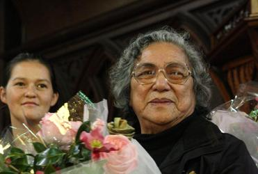 Aunty Alice Pihema led the women from Orakei Marae who did the tukutuku work at Tatai Hono.