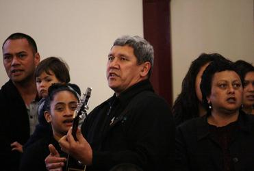 John Tapene leads Te Wero te Whakapono, the Auckland Anglican Maori Club, through its paces at Tatai Hono.
