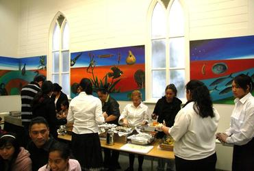 The refurbished kitchen, with its new art by Theresa Reihana.